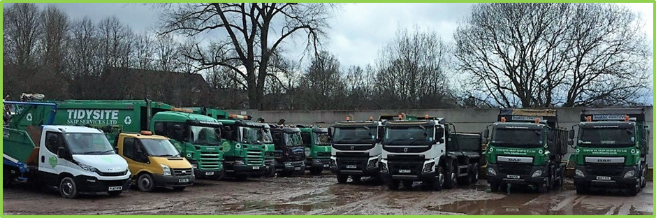 Tidysite skip services fleet of hiab and tipper lorries